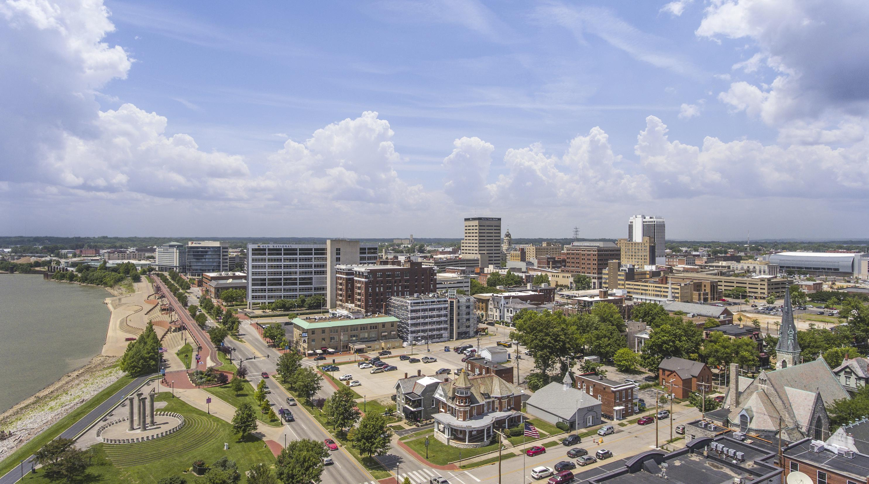e is for everyone - Evansville Indiana - Downtown - Aerial - Alex Morgan Imaging - Copy
